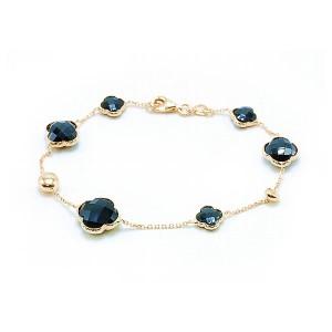 Ladies Clover Onyx Bracelet