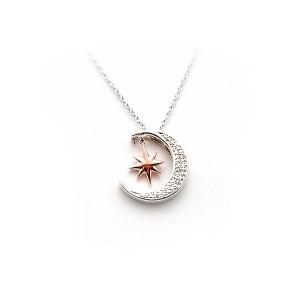 Sterling Silver Moon & Star Diamond Pendant