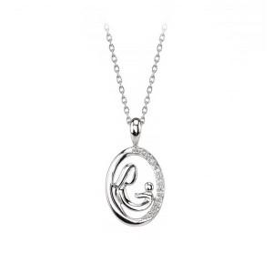 Sterling Silver Mother & Child Diamond Pendant