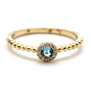 Ladies Blue Topaz & Diamond Ring
