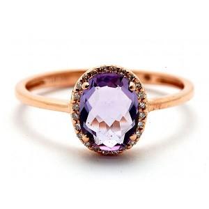 Ladies Pink Amethyst & Diamond Ring