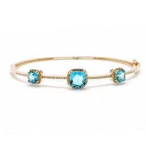 Blue Topaz & Diamond Bangle Bracelet