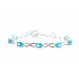 Swiss Topaz & Diamond Link Bracelet
