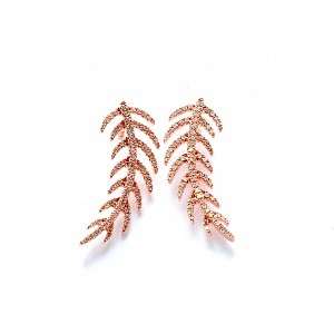 Diamond Feather Design Earrings