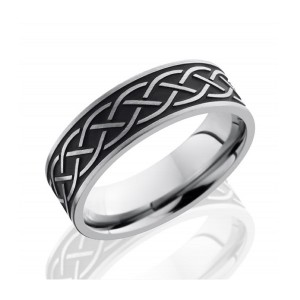 Men's Titanium Wedding Band with Celtic Design