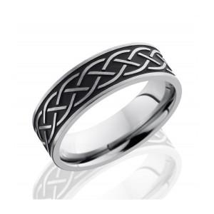 Men's Titanium Wedding Band with Celtic Design
