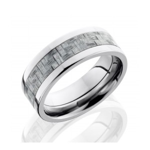 Men's Titanium Wedding Band with Carbon Fiber Inlay