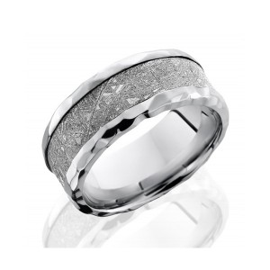 Men's Cobalt Chrome Wedding Band with Meteorite Inlay