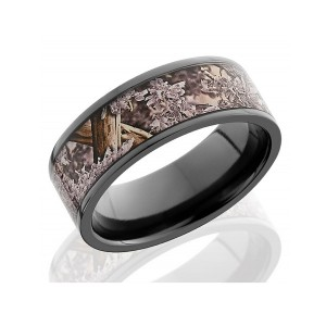 Men's Black Zirconium Wedding Band with Camo Inlay
