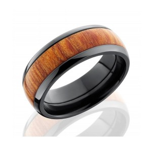 Men's Black Zirconium Wedding Band with Wood Inlay