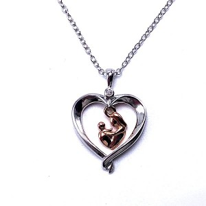 Sterling Silver & Gold Mother & Child Pendant