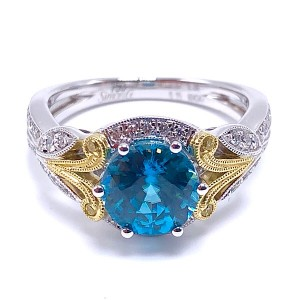 Simon G. Blue Zircon & Diamond Ring