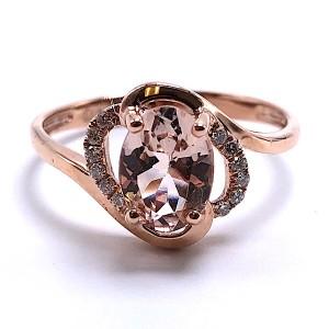 Ladies Morganite & Diamond Ring