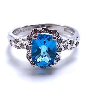 Ladies Swiss Topaz & Diamond Ring