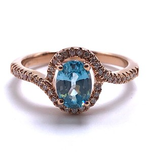 Ladies Blue Zircon & Diamond Ring