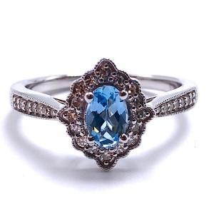 Ladies Aquamarine & Diamond Ring