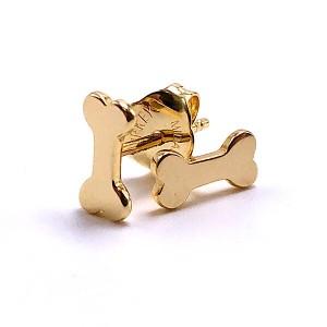 Gold Dog Bone Stud Earrings