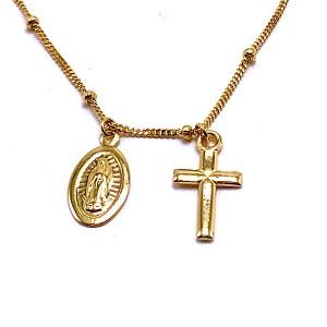 Gold Cross & Virgin Mary Medallion Choker Pendant