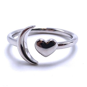 Sterling Silver Moon & Heart Ring