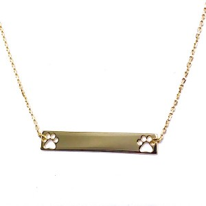 Gold Bar Cut Out Paw Pendant
