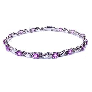 Oval Pink Sapphire & Diamond Bracelet