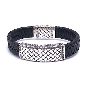 Sterling Silver & Woven Leather Bracelet by Samuel B.