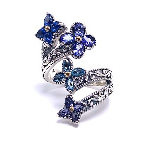 Sterling Silver Blue Multi Stone Flower Bypass Ring by Samuel B.