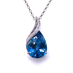 London Topaz & Diamond Pendant
