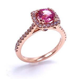 Ladies Padparadscha Sapphire & Diamond Engagement Ring