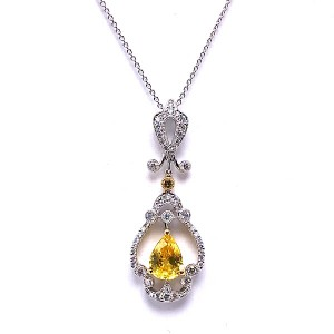 Yellow Sapphire & Diamond Pendant