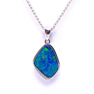Opal Doublet & Diamond Pendant