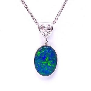 Opal Triplet & Diamond Pendant