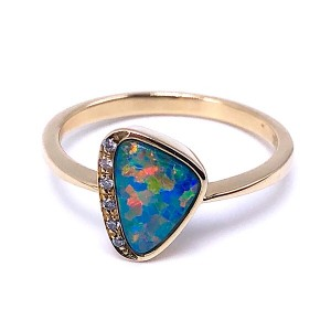 Ladies Opal Doublet & Diamond Ring