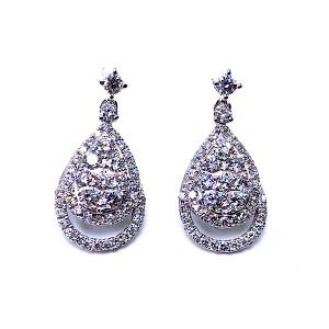 Pave Dangle Diamond Earrings