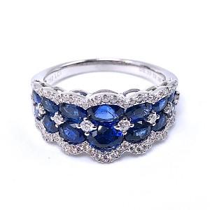 Ladies 2 Row Sapphire & Diamond Ring