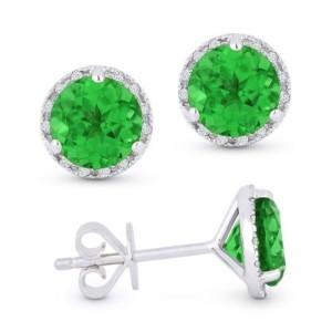 Green Corundum & Diamond Earrings