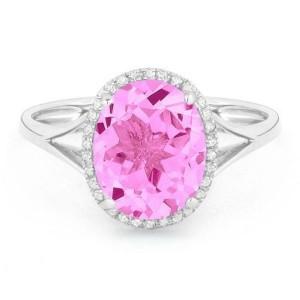 Ladies Pink Corundum & Diamond Ring