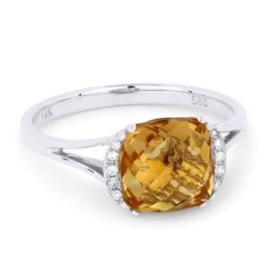 Ladies Citrine & Diamond Ring