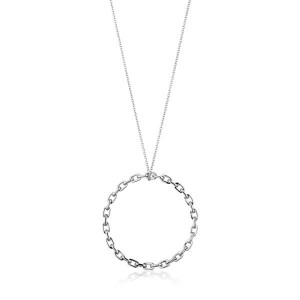 Sterling Silver Chain Circle Pendant Necklace by Ania Haie