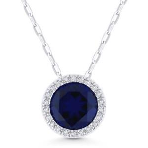 Blue Corundum & Diamond Pendant