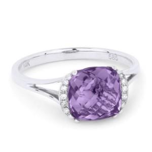 Ladies Amethyst & Diamond Ring