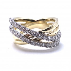 Diamond Criss-Cross Fashion Ring