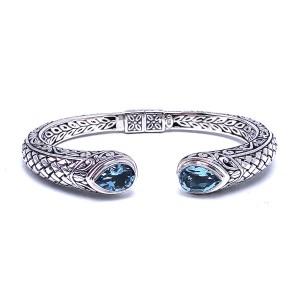 Sterling Silver and Blue Topaz Bangle Bracelet by Samuel B.