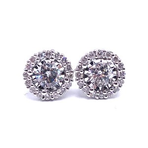 Miracle Mark Halo Diamond Earrings