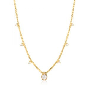 Ania Haie Yellow Mother-of-Pearl Drop Disc Necklace