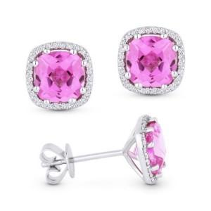 Pink Corundum & Diamond Earrings