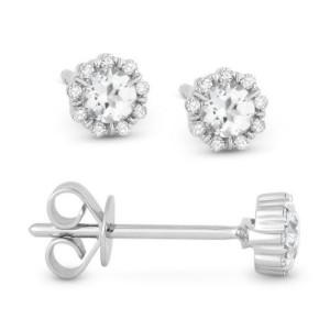 White Topaz & Diamond Earrings