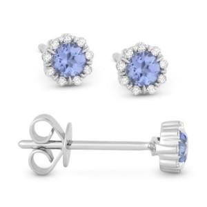 Light Blue Topaz & Diamond Earrings