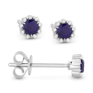 Blue Corundum & Diamond Earrings
