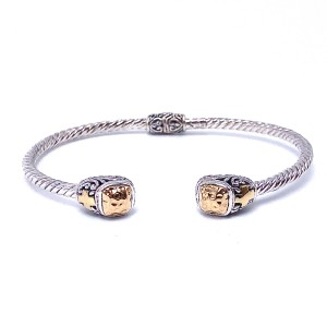 Sterling Silver & Gold Bangle Bracelet by Samuel B.